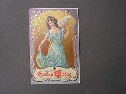 Junge Frau Mit Fecher , Goldpräge AK Mit Reklame .. *  Ca, 1900 - Frauen