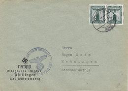 N° 159 X 2 Sur Lettre Du NSDAP De Pfullingen Pour Metzingen ,1943 - Dienstpost