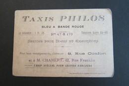 Ancienne Carte De Visite Commerciale TAXIS PHILOS Bleu à Bande Rouge - 8 Rue Confort (Lyon) - Noces Excursions ~1920 - Cars
