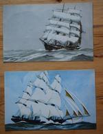 2 CPA De Voiliers : Trois Mâts Barque Et Clipper - Collection De La Ligue Maritime Et Coloniale - (n°12748) - Veleros