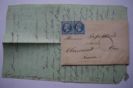 4 -440 Second Empire Gros Chiffres 5119 Le Caire Egypte Suez 1867 Clermont Oise Via Marseille à Lyon Paris PD - Préphilatélie