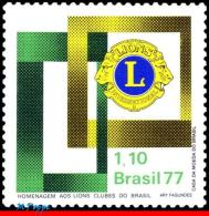Ref. BR-1499 BRAZIL 1977 LIONS, 25TH ANNIV. OF BRAZILIAN, LIONS INTL., EMBLEM, MI# 1589, MNH 1V Sc# 1499 - Brazil