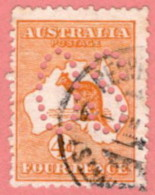 "AUS SC #OA6 U 1913 Official/ 4p Large ""OS"" CV $25.00 - Perfins"