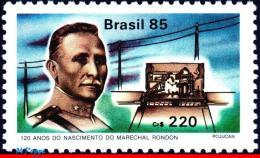 Ref. BR-1996 BRAZIL 1985 FAMOUS PEOPLE, MARSHAL RONDON, EDUCATOR,, MILITARY, TELEGRAPH LINES, SCIENCE, MNH 1V Sc# 1996 - Brazil