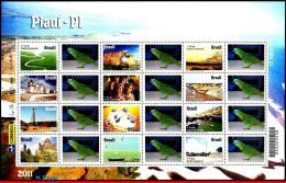 Ref. BR-3187-F6 BRAZIL 2011 CITIES, PIAUI, BRIDGE, CHURCHES,, ART, BEACH, PARROT, PERSONALIZED MNH 12V Sc# 3187 - Brazil