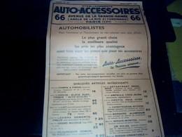 Tract  Publicitee Accessoires Automobile De  1937 Auto  Accessoires ETS - Publicité