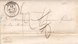 19227# ARDENNES LETTRE Obl RETHEL 1847 T13 Au Dos LIGNE DE TOURS (1) Pour ANGERS MAINE ET LOIRE - 1801-1848: Precursors XIX