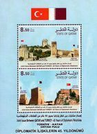 Qatar - 2018 - 45 Years Of Diplomatic Relations With Turkey - Joint Issue - Mint Souvenir Sheet With Varnish - Qatar