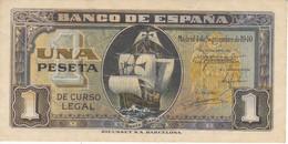 BILLETE DE ESPAÑA DE 1 PTA DEL 4/09/1940 SERIE A CARAVELA EN CALIDAD EBC (XF) (BANKNOTE) - 1-2 Pesetas