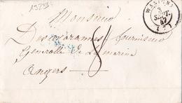 19233# ARDENNES LETTRE TAXE 8 DECIMES Obl WASIGNY 1847 T15 Pour ANGERS MAINE ET LOIRE - 1801-1848: Precursors XIX