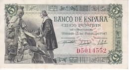 BILLETE DE ESPAÑA DE 5 PTAS DEL 15/06/1945 SERIE D CALIDAD EBC (XF) (BANKNOTE) - 5 Pesetas