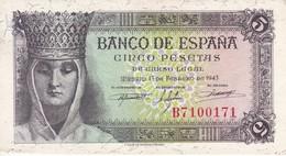 BILLETE DE ESPAÑA DE 5 PTAS DEL 13/02/1943 SERIE B ISABEL CATOLICA SIN SIRCULAR (BANKNOTE) UNCIRCULATED - 5 Pesetas