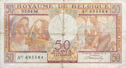 Belgium 50 Francs, P-133b 1956 (Fine) - [ 2] 1831-... : Belgian Kingdom