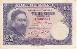 BILLETE DE ESPAÑA DE 25 PTAS DEL AÑO 1954 ISAAC ALBENIZ  SERIE L - [ 3] 1936-1975 : Regency Of Franco