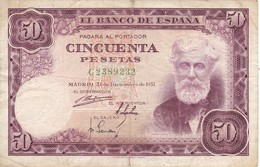 BILLETE DE ESPAÑA DE 50 PTAS DEL 31/12/1951 SERIE C  (BANKNOTE) - [ 3] 1936-1975: Regime Van Franco