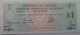 Billete Tucumán. Argentina. 1 Austral. 1991. Sin Circular - Argentina