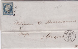 19237# CHARENTE MARITIME NAPOLEON LETTRE Obl PC + MARANS 31 DECEMBRE 1854 T15 Pour ANGERS MAINE ET LOIRE - 1849-1876: Période Classique
