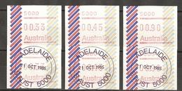 Australie 1984/5 - Vignettes ATM D'affranchissement - Adelaide - Petit Lot De 6 - Trois Valeurs - Neufs/Oblitérés - Vignettes D'affranchissement (ATM/Frama)