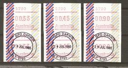Australie 1984/5 - Vignettes ATM D'affranchissement - Darwin - Petit Lot De 6 - 3 Valeurs - Neufs/oblitérés - Vignettes D'affranchissement (ATM/Frama)