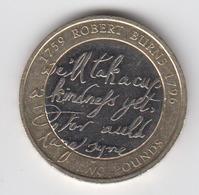 Great Britain UK £2 Two Pound Coin 2009 Robert Burns - Circulated - 1971-… : Monete Decimali