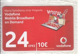 GREECE - Vodafone Internet Prepaid Card 10 Euro, Exp.date 31/08/12, Mint - Greece