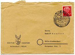 Germany 1956 Cover Aulendorf To Köln-Lindenthal W/ Kneippkurort Postmark - [7] Federal Republic