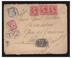 """FRANCE- NANTES- VOILIERS DU COMMERCE NANTAIS-- LE """"OLIVIER DE CLISSON""""-- LETTRE DE 1902 DE SAN FRANCISCO POUR NANTES - Poststempel (Briefe)"""