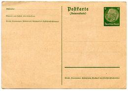 Germany 1936 Unused 6pf Hindenburg Postal Reply Card Half - Germany