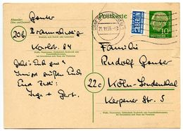 Germany 1955 10pf  Heuss Postal Card Braunschweig To Köln-Lindenthal W/ Blue Flea - [7] Federal Republic