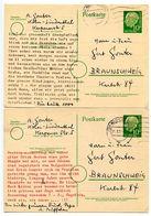 Germany 1956 2 Heuss Postal Cards Köln-Lindenthal To Braunschweig - [7] Federal Republic
