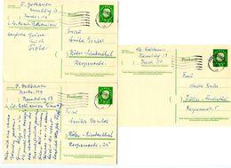 Germany 1959-60 3 Heuss Postal Cards Hamburg To Köln-Lindenthal - [7] Federal Republic