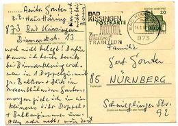 Germany 1966 20pf. Lorsch Postal Card Bad Kissingen To Nürnberg - [7] Federal Republic