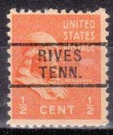 USA Precancel Vorausentwertung Preo, Locals Tennessee, Rives 729 - Vorausentwertungen
