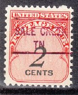 USA Precancel Vorausentwertung Preo, Locals Tennessee, Sale Creek 841 - Vorausentwertungen