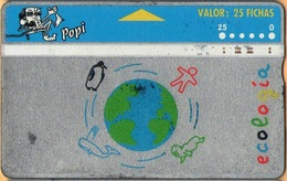 Argentina - Landis & Gyr, AR-Popi-03A, Ecologia - 411M, Globes, 1/94, Used - Argentina
