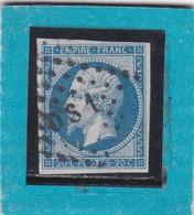 """N°14 B  OBLIT. DE PARIS  BUREAU DE QUARTIER """"DS1 """" RUE DU Fbg St-MARTIN / PETIT LOGEMENT + VARIETE- REF ACDIV - 1853-1860 Napoléon III"""