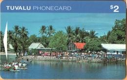 Tuvalu - GPT, OITIA, Village Scene, Funafuti, Palm-trees, Ports, 2$, 10.000ex, 7/95, Used - Tuvalu