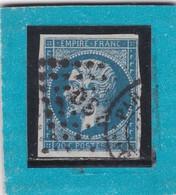 """N°14 A  OBLIT. DE PARIS  BUREAU DE QUARTIER """"DS3 """"  GARE DU NORD / PETIT LOGEMENT - REF ACDIV - 1853-1860 Napoleon III"""