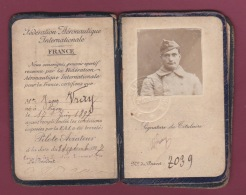 110718 MILITARIA GUERRE 1914 18 AVIATION - Brevet Pilote Aviateur Photo Identité JEAN VRAY Lyon 1917 - Aviation