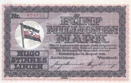 Notgeld - Hamburg - Hugo Stinnes Linien -  Fünf Millionen Mark 1923 - Einzelschein    -  NG-130 - Lokale Ausgaben