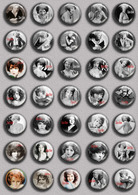 Clara Bow Movie Film Fan ART BADGE BUTTON PIN SET  (1inch/25mm Diameter) 35 DIFF - Films