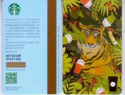 Starbucks China 2018 Summer Jungle Tiger MSR  Card Set Pin Covered - Cina