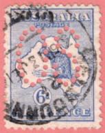 "AUS SC #OA8 U 1913 Official / 6p Large ""OS"" CV $30.00 - Perfins"