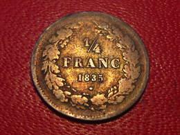 Belgique - 1/4 Franc 1835 Leopold I - Avec Signature 8876 - 1831-1865: Léopold I