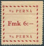 Finland 1920 Pernå Shipping Co. 6 Mk ** Local Parcel Freight Stamp Ship Mail Private Post Schiffspost Paketmarke Colis - Ships