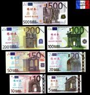 Set Complet De 7 Billets NEUFS Euros - Spécimen Echantillons Test Practice Banknotes - Private Proofs / Unofficial
