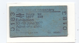 Ticket Treinkaartje Biljet Spoorwegen - Chemins De Fer - York Station Centenary Exhibition 1977 - Chemins De Fer