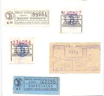Ticket Treinkaartje Biljet Spoorwegen - Chemins De Fer - Billete - Espagne Madrid - 5 Pièces - Chemins De Fer