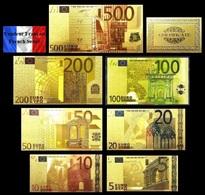 Set De 7 Billets Plaqués OR Couleur  + Certificat !!! ( Color GOLD Plated Banknotes ) - Euros - Private Proofs / Unofficial