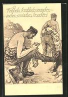 """CPA Illustrateur """"Kribbeln, Krabbeln, Zwacken..."""", Des Soldats Untersuchen Ihre Kleidung Auf Läuse - Insectes"""